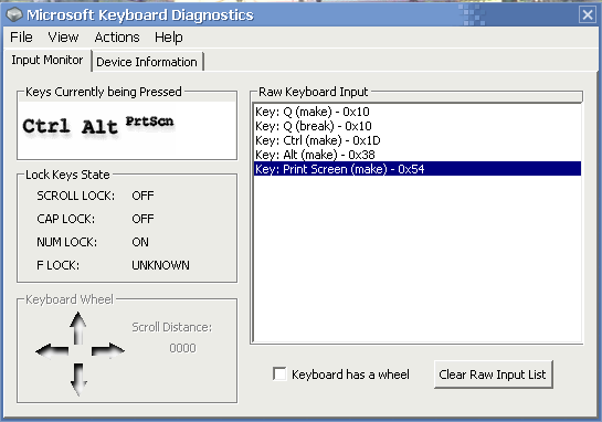 Microsoft Keyboard Diagnostics